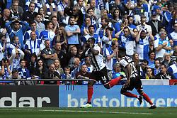 Grimsby's Lenell John-Lewis celebrates his goal - Photo mandatory by-line: Dougie Allward/JMP - Mobile: 07966 386802 - 17/05/2015 - SPORT - football - London - Wembley Stadium - Bristol Rovers v Grimsby Town - Vanarama Conference Football