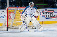 KELOWNA, CANADA - DECEMBER 7: Mackenzie Skapski #29 of the Kootenay Ice warms up in net against the Kelowna Rockets on December 7, 2013 at Prospera Place in Kelowna, British Columbia, Canada.   (Photo by Marissa Baecker/Shoot the Breeze)  ***  Local Caption  ***