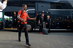 BURTON-UPON-TRENT, ENGLAND - Tuesday, August 23, 2016: Liverpool's Danny Ings arrives ahead of the Football League Cup 2nd Round match against Burton Albion at the Pirelli Stadium. (Pic by David Rawcliffe/Propaganda)