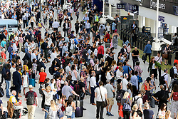 © Licensed to London News Pictures. 23/08/2019. London, UK. Passengers on London's Waterloo Station concourse travelling for the August bank holiday weekend. Tens of thousands of passengers are expected to travel out of London as temperatures are forecast to reach 30 degrees Celsius. Photo credit: Dinendra Haria/LNP
