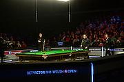 20.02.2016. Cardiff Arena, Cardiff, Wales. Bet Victor Welsh Open Snooker semi-finals. Mark Allen versus Neil Robertson. Mark Allen and Neil Robertson in the semi final of the Welsh Open at the Motorpoint Arena in Cardiff