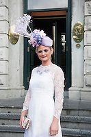 30/07/2015 Ireland&rsquo;s leading model, Roz Purcell,  judged at the 4 star,  Hotel Meyrick&rsquo;s annual most stylish lady competition on Kilkenny's Ladies Day of Galway Race Week 2015.  <br /> Linda Morrison, Kildare with Anne Marie Corbett Co. Cork Photo: Andrew  Downes xposure