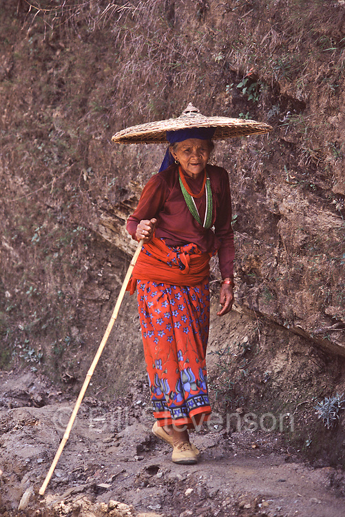 A Hindu woman on the trek to Manaslu basecamp in Nepal.