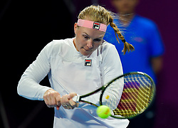 DOHA, Feb. 14, 2019  Kiki Bertens of the Netherlands hits a return during the women's singles second round match between Kiki Bertens of the Netherlands and Carla Suarez Navarro of Spain at the 2019 WTA Qatar Open in Doha, Qatar, Feb. 13, 2019. Kiki Bertens won 2-1. (Credit Image: © Nikku/Xinhua via ZUMA Wire)