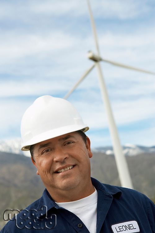 Engineer wearing hardhat at wind farm, portrait
