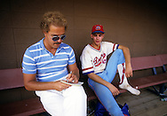STEVENS POINT, WI - 1987:  A reporter talks to a young player participating in the American Legion World Series in Stevens Point, Wisconsin.  (Photo by Ron Vesely)