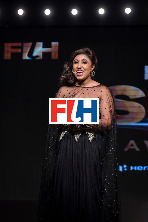 CHANDIGARH, INDIA - FEBRUARY 23: Sanchalli Arora comperes during the FIH Hockey Stars Awards 2016 at Lalit Hotel on February 23, 2017 in Chandigarh, India. (Photo by Ali Bharmal/Getty Images for FIH)