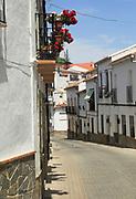 Whitewashed buildings narrow street, Montejaque, Serrania de Ronda, Malaga province, Spain