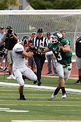 28 September 2013:  T J Stinde straight arms Kirby Crook during an NCAA division 3 football game between the Hope College Flying Dutchmen and the Illinois Wesleyan Titans in Tucci Stadium on Wilder Field, Bloomington IL