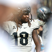 ORLANDO, FL - NOVEMBER 11: Shaquem Griffin #18 of the UCF Knights is seen on the sidelines during a NCAA football game between the University of Connecticut Huskies and the UCF Knights on November 11, 2017 in Orlando, Florida. (Photo by Alex Menendez/Getty Images) *** Local Caption *** Shaquem Griffin