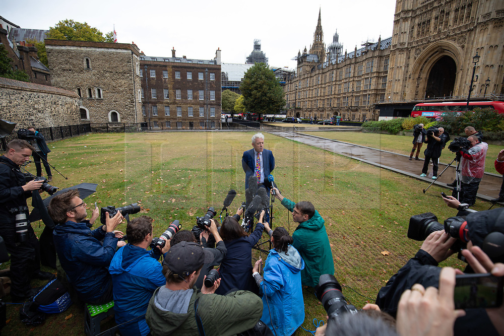 © Licensed to London News Pictures. 24/09/2019. London, UK. Speaker of the House of Commons John Bercow speaks to media to announce that  parliament will return tomorrow, following a historic ruling by the Supreme Court this morning that Boris Johnson's decision to suspend Parliament for five weeks was unlawful. Photo credit : Tom Nicholson/LNP