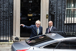 London, UK. 13 December, 2019. Boris Johnson leaves 10 Downing Street to ask the Queen to be able to form a new Government after the Conservative party won the general election with a majority in the House of Commons of 78 with one seat still left to declare. Credit: Mark Kerrison/Alamy Live News