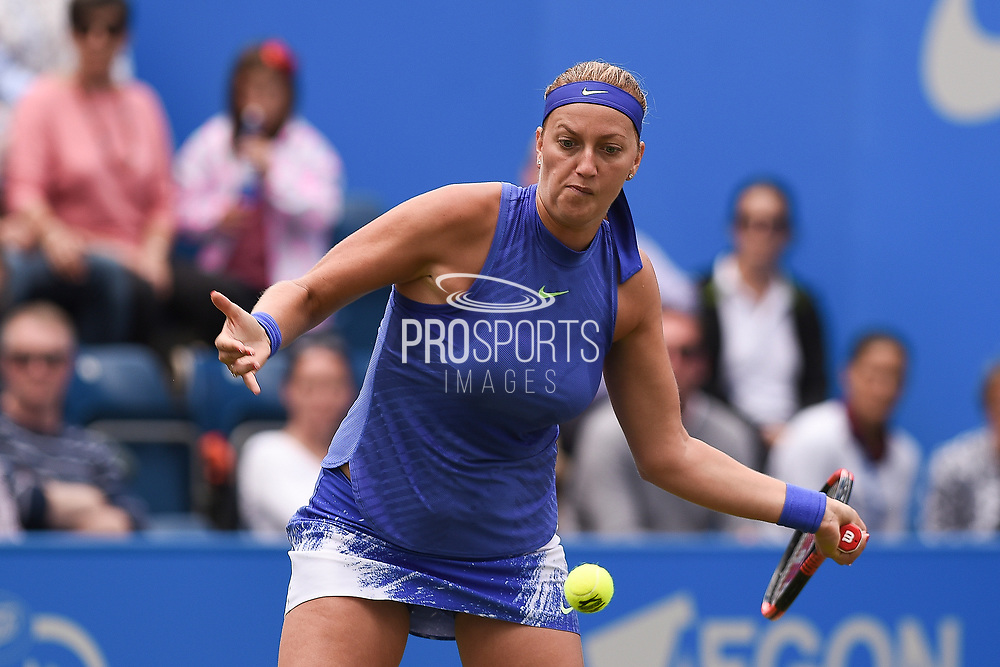 Petra Kvitova of the Czech Republic on her way to winning her finals match (4-6) (6-3) (6-2) at the Aegon Classic Birmingham at Edgbaston Priory Club, Edgbaston, United Kingdom on 25 June 2017. Photo by Martin Cole.