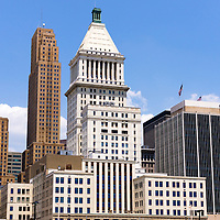 Photo of Cincinnati downtown city buildings including Great American Ballpark, PNC Tower building, US Bank building, and Carew Tower building. Photo was taken in July 2012.