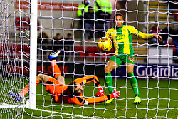 Dwight Gayle of West Bromwich Albion's shot goes past Marek Rodak of Rotherham United to give Dwight Gayle's his hat-trick - Mandatory by-line: Ryan Crockett/JMP - 22/12/2018 - FOOTBALL - Aesseal New York Stadium - Rotherham, England - Rotherham United v West Bromwich Albion - Sky Bet Championship