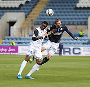 Inverness Caledonian Thistle&rsquo;s Edward Ofere and Dundee's Kevin Thomson - Dundee v Inverness Caledonian Thistle - SPFL Premiership at Dens Park <br /> <br />  - &copy; David Young - www.davidyoungphoto.co.uk - email: davidyoungphoto@gmail.com