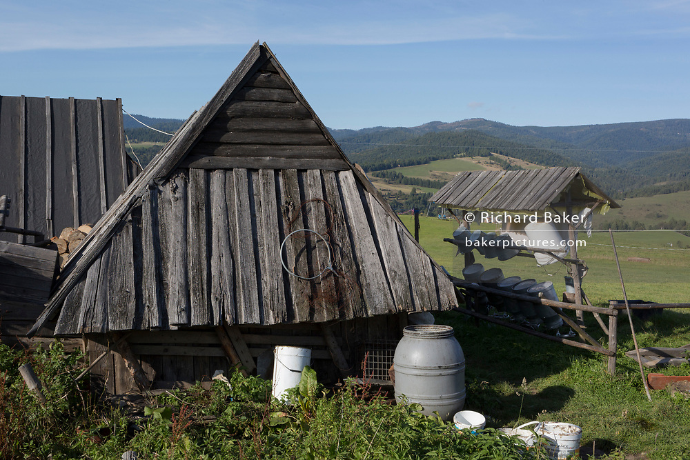 Logs and equipment outside a traditional Polish mountain shepherd's hut, on 21st September 2019, in Jaworki, near Szczawnica, Malopolska, Poland.