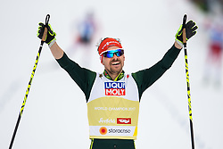 February 24, 2019 - Seefeld In Tirol, AUSTRIA - 190224 Fabian Riessle of Germany celebrates as he crosses the finish line in men's nordic combined team sprint during the FIS Nordic World Ski Championships on February 24, 2019 in Seefeld in Tirol..Photo: Vegard Wivestad Grøtt / BILDBYRÃ…N / kod VG / 170297 (Credit Image: © Vegard Wivestad GrØTt/Bildbyran via ZUMA Press)