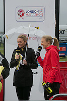 Gabby Logan interviews Paula Radcliffe photographed at the celebrity start of the Virgin Money London Marathon 2015, Sunday 26th April 2015<br /> <br /> Roger Allen for Virgin Money London Marathon<br /> <br /> For more information please contact Penny Dain at pennyd@london-marathon.co.uk
