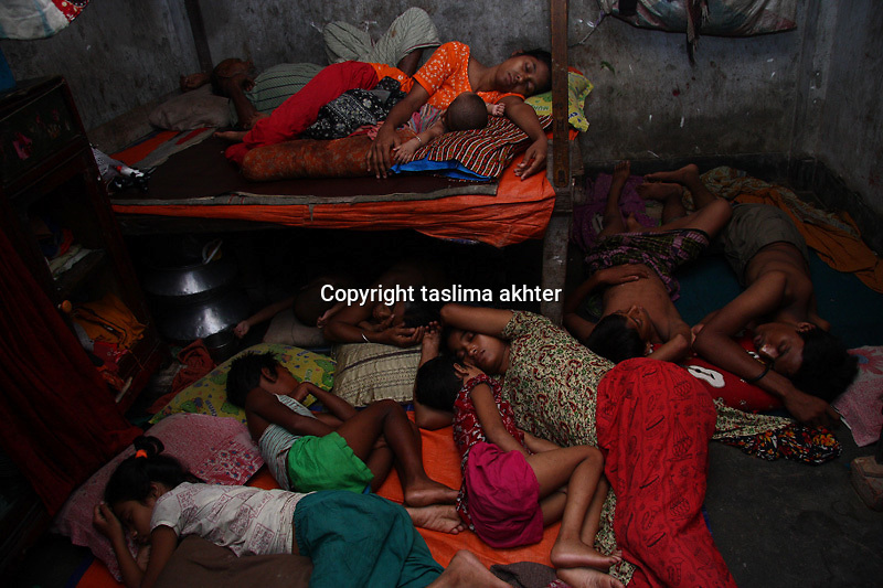 11 member of a garment worker's family share the same room to survive. 11 June, 2009. Mirpur;Dhaka, Bangladesh