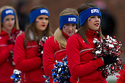 DALLAS, TX - DECEMBER 7:  SMU Mustangs cheerleaders look on during the National Anthem before kickoff against the Central Florida Knights on December 7, 2013 at Gerald J. Ford Stadium in Dallas, Texas.  (Photo by Cooper Neill) *** Local Caption ***
