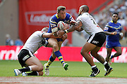 Warrington's Daryl Clark during the Challenge Cup Final 2016 match between Warrington Wolves and Hull FC at Wembley Stadium, London, England on 27 August 2016. Photo by Craig Galloway.