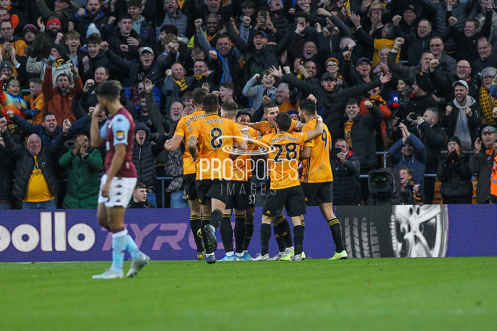 Wolverhampton Wanderers celebrate the second goal of the game scored by Raul Jimenez during the Premier League match between Wolverhampton Wanderers and Aston Villa at Molineux, Wolverhampton, England on 10 November 2019.