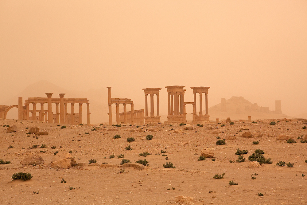 Palmyra ruins, seen through settling dust just after a sandstorm, Syrian desert