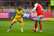 Luke O'Neill of AFC Wimbledon (2) in action during the EFL Sky Bet League 1 match between Fleetwood Town and AFC Wimbledon at the Highbury Stadium, Fleetwood, England on 10 August 2019.