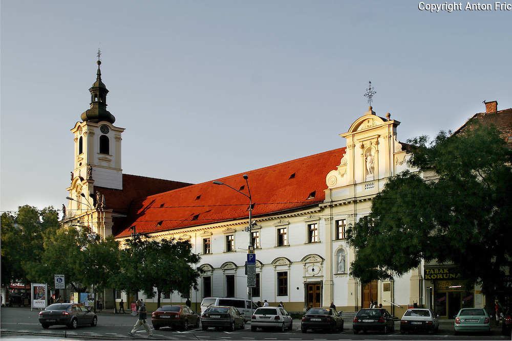 Brothers of Charity church and the hospital in the center of Bratislava, Slovakia. The hospital and the church are located at SNP square (Namestie SNP).