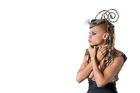 African American model in fashionable clothes over white background