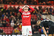 Middlesbrough forward Stephen Walker (36) with his head in his hands after going close to socring during the EFL Sky Bet Championship match between Middlesbrough and Charlton Athletic at the Riverside Stadium, Middlesbrough, England on 7 December 2019.