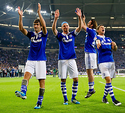 23.07.2011, Veltins arena, Gelsenkirchen, GER, Supercup, FC Schalke 04 vs. Borussia Dortmund, im Bild Raul (#7 Schalke), Benedikt Hoewedes (#4 Schalke), Christian Fuchs (#23 Schalke), Klaas-Jan Huntelaar (#25 Schalke) feiern den Sieg // during the match FC Schalke 04 vs. Borussia Dortmund at Veltins arena 2011/07/23    EXPA Pictures © 2011, PhotoCredit: EXPA/ nph/  Kurth       ****** out of GER / CRO  / BEL ******
