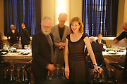 John Kaldor, richard Cork and Julie Peyton-Jones, VIP opening of Bill Viola exhibition Love/Death: The Tristan project. Haunch of Venison, St Olave's College, Tooley St. London and Dinner afterwards at Banqueting House. Whitehall. 19 June 2006. ONE TIME USE ONLY - DO NOT ARCHIVE  © Copyright Photograph by Dafydd Jones 66 Stockwell Park Rd. London SW9 0DA Tel 020 7733 0108 www.dafjones.com