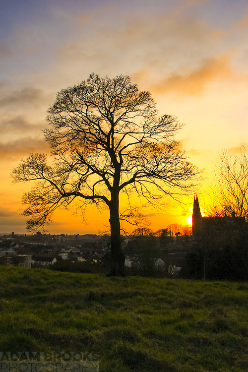 Sunset overlooking Armagh from Armagh Observatory Astropark with St. Patrick's Roman Catholic Cathedral in the background