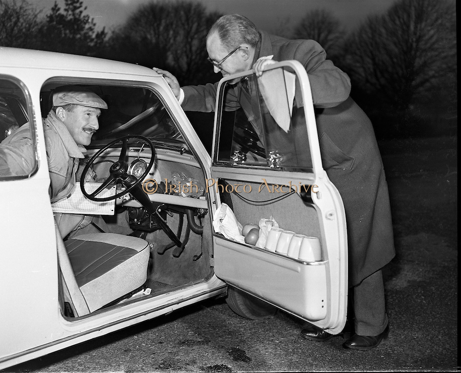 Mini Minor leaves Phoenix Park for 100 mile circuit 09/12/1959<br /> <br /> Thanks to David Coleman for correcting our original caption - of course it's a Morris Mini Minor not a Morris Minor!