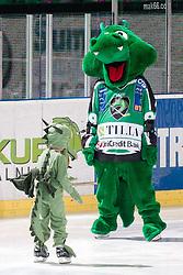 HDD Tilia Olimpija official mascot dragon Hoki with little dragon during ice-hockey match between HDD Tilia Olimpija and HK Acroni Jesenice in second game of Final at Slovenian National League, on April 3, 2011 at Hala Tivoli, Ljubljana, Slovenia. (Photo By Matic Klansek Velej / Sportida.com)