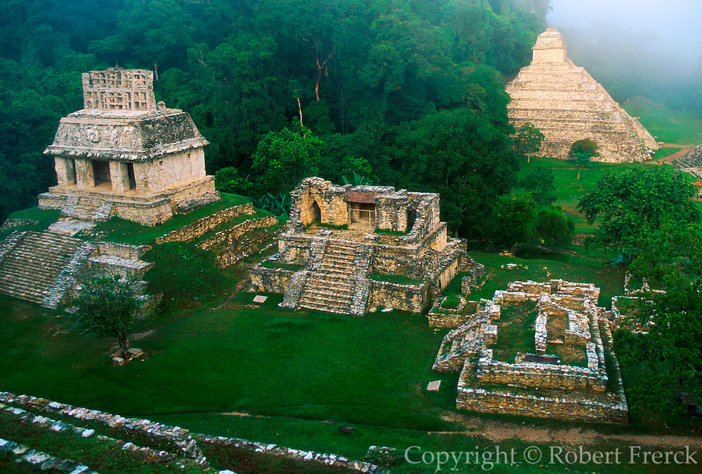 MEXICO, MAYAN, PALENQUE Temples of Sun and Inscriptions