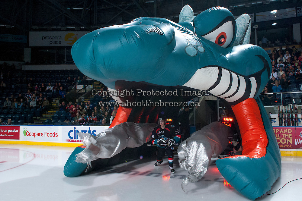 KELOWNA, CANADA - SEPTEMBER 28:  Joe Gatenby #28 of the Kelowna Rockets enters the ice against the Victoria Royals  at the Kelowna Rockets on September 28, 2013 at Prospera Place in Kelowna, British Columbia, Canada (Photo by Marissa Baecker/Shoot the Breeze) *** Local Caption ***