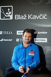 Blaz Kavcic, tennis player of Slovenia during press conference after the end of season, on December 17, 2015 in Tennis Academy Breskvar, Ljubljana, Slovenia. Photo by Vid Ponikvar / Sportida