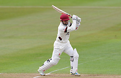 Somerset's Johann Myburgh drives the ball - Photo mandatory by-line: Harry Trump/JMP - Mobile: 07966 386802 - 04/04/15 - SPORT - CRICKET - Pre Season - Day 3 - Somerset v Durham MCCU - Taunton Vale, Somerset, England.
