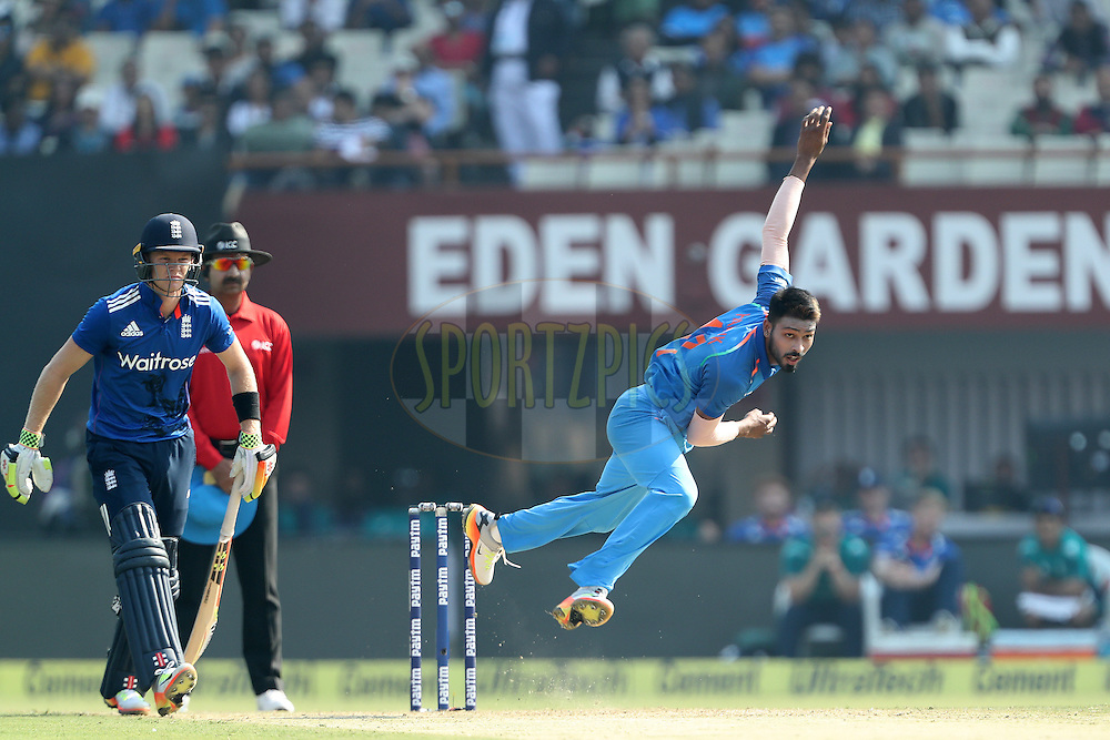 Hardik Pandey of India during the third One Day International (ODI) between India and England  held at Eden Gardens in Kolkata on the 22nd January 2017<br /> <br /> Photo by: Ron Gaunt/ BCCI/ SPORTZPICS