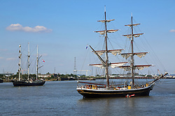 © Licensed to London News Pictures. 27/08/2013. A fleet of tall ships arrived on the Thames today for the second Sail Royal Greenwich event. The dutch ships will be undertaking taking daily voyages on the Thames for the next five days. credit : Rob Powell/LNP