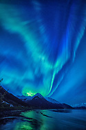 Aurora borealis over Seward Highway and Turnagain Arm