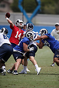 Los Angeles Rams rookie center Brian Allen (55), a 4th round pick in the 2018 NFL draft, blocks during the Los Angeles Rams NFL football camp on Monday, June 4, 2018 in Thousand Oaks, Calif. (©Paul Anthony Spinelli)