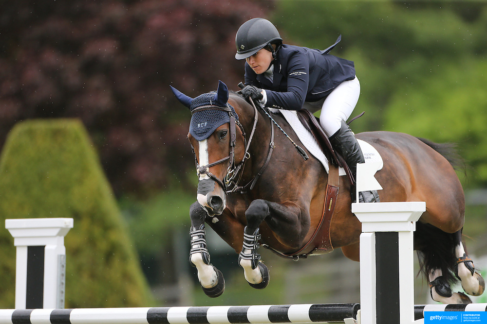 NORTH SALEM, NEW YORK - May 21: Sydney Schulman riding Venice in action during The $15,000 Under 25 T & R Development Grand Prix at the Old Salem Farm Spring Horse Show on May 21, 2016 in North Salem, New York. (Photo by Tim Clayton/Corbis via Getty Images)