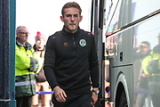 Forest Green Rovers George Williams(11) arrives at the ground during the EFL Sky Bet League 2 play off first leg match between Tranmere Rovers and Forest Green Rovers at Prenton Park, Birkenhead, England on 10 May 2019.