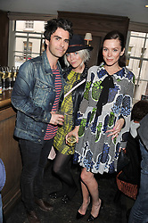 Left to right, KELLY JONES, JAKKI HEALY and ANNA FRIEL at a party to celebrate the publication of Vintage Craft - 50 Craft Projects and Home Styling Advice by Pearl Lowe held at Soho House, Old Compton Street, London on 8th May 2013.