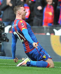 PALACE CONNOR WICKHAM  CELEBRATES AFTER SCORING CRYSTAL PALACE SECOND AND WINNING  GOAL TO PUT PALACE IN THE FA CUP FINAL, Crystal Palace v Watford Emirates FA Cup Semi Final Wembley Stadium Sunday 24th April 2016, Score Palace 2-1 (Bolasie, Wickham) Watford 1 (Deeney)