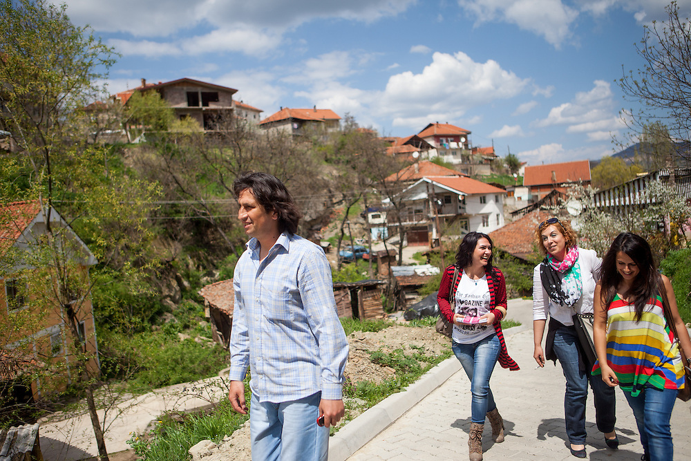 Romina Kajtazova and her collegues (Sanela Abdulova second left, in front project coordinator Zoran Bikovski, beside Romina our translator Katerina) - all three working for NGO Kham - during door to door activity in Delcevo. They visit families, deliver brochures and putting up posters in the community to inform about health related issues and patients rights.